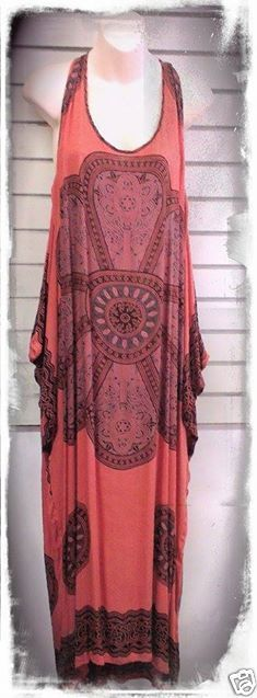 BOHO HIPPY CHIC SALE Celtic Abstract Bohemian Toffee Racer Back Maxi Size 8-16