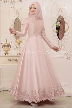 Çitlembik Abiye - Pudra - Pınar Şems Muslimah Wedding Dress, Hijab Wedding Dresses, Wedding Bridesmaid Dresses, Prom Dresses, Hijab Evening Dress, Hijab Dress Party, Evening Dresses, Hijab Bride, Models