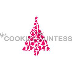 """Christmas Fun Treestencil.  Overall stencil size approximately 5.5"""" x 5.5"""". PINK sections in image are the open sections. Stencils are 5mil Food Grade plastic, washable and reusable."""