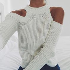 Love cut out shoulders on sweaters for the fall!
