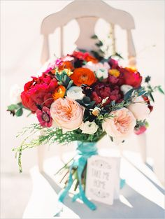 colorful wedding bouquet for the bride with an endless color palette #bouquet #colorfulbouquet #weddingchicks http://www.weddingchicks.com/2014/02/11/lonely-bouquet/