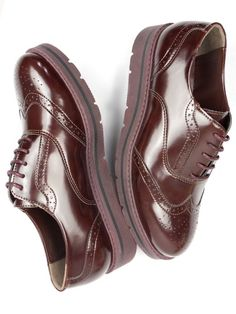 Vegan Vegetarian Non-Leather Womens Flatform Brogues in Wine