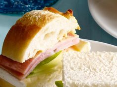 Ham, brie, and green apple tea sandwiches-- use brie spread from TJ's!