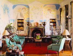 Francine Weisweiller's La Villa Santo-Sospir, walls decorated by Jean Cocteau