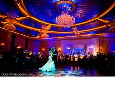 So this is what they mean when they say lighting can totally transform a wedding venue!