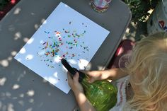 Little Page Turners: Shake sprinkles onto cardstock and spray with water.  When it dries it looks like fireworks!