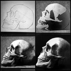 """Richard Sorensen en Instagram: """"Sunday skull study :) #ilovemywacom"""" Wacom skull"""