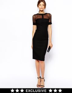 Image 1 of Vesper Sexy Pencil Dress with Mesh Insert Neck