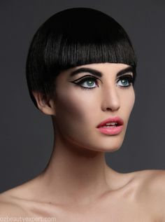 Erin for Oz Beauty Expert // Thom Kerr Bob Haircut With Bangs, White Eyeliner, Bowl Cut, L'oréal Paris, Shaved Hair, Glam Rock, Brunette Hair, Cool Hairstyles, Beautiful Hairstyles