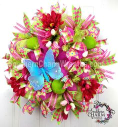 Deco Mesh Spring Wreath Lime Green Hot Pink with Butterfly Door Wreath by www.southerncharmwreaths.com #decomesh #butterfly #spring #wreath