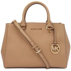 Womens Shoulder Bags Michael Kors Sutton Almond Leather Tote ($475) ❤ liked on Polyvore featuring bags, handbags, tote bags, purses, michael kors, beige tote, zip top tote, leather tote and leather tote bags