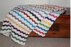 Afghan  Handmade Scrap Ripple Crochet Blanket  by SnugableTouches, $75.00