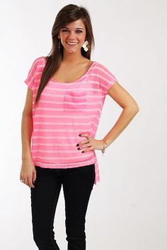 """Simple Stripes Pocket Top, Pink $36.00  We are loving this lightweight, gauzy top! The color is right on trend and we always love horizontal stripes and pockets. With the hi lo hemline and loose fit, this is great over a cami and skinnies or shorts!   Fits true to size. Miranda is wearing a small.   From shoulder to hem:  Small - 24""""  Medium - 24.5""""  Large - 25"""""""