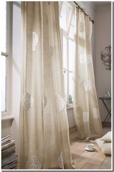 Natural Linen and Lace Curtains