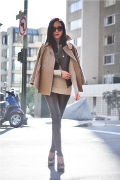 Neutrals: Trench cape - Stella McCartney, Turtleneck - Zara, Leather pants - Balenciaga, Heels - Proenza Schouler