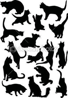 Sixteen cat silhouettes — Stock Illustration #6260691