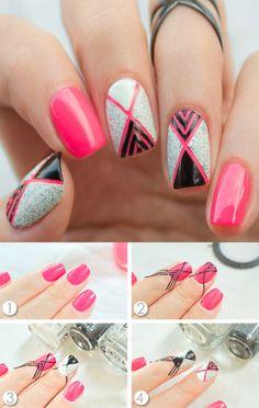 Striped Nail Designs, Tropical Nail Designs, Girls Nail Designs, Toe Nail Designs, Green Nail Art, Rose Nail Art, Rose Nails, Different Nail Designs, Simple Nail Art Designs