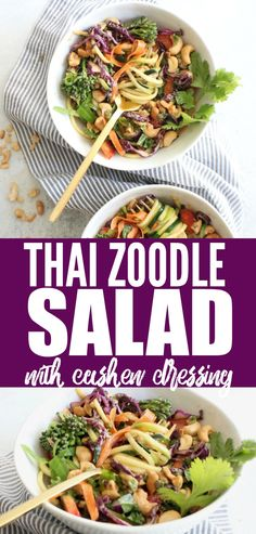 Easy peasy Thai Zoodle Salad with Cashew Dressing that is so crunchy and flavorful! Such a fun and delicious low carb and gluten free recipe!