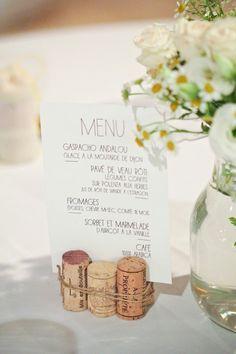 Bouchon liège transformé en porte menu