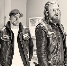 Jax and Opie, Sons of Anarchy, SAMCRO, SOA, bikers, brothers, family, great tv, portrait, photo b/w