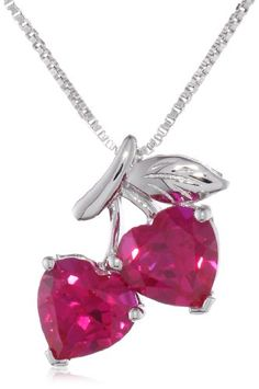 """XPY Sterling Silver Created Rubies Double Heart Pendant Necklace, 18"""" -"""