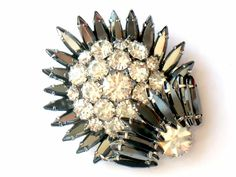JULIANA Hematite Brooch Confirmed Rhinestone Domed Layer High Fashion Art Deco Pin 1950s Vintage Jewelry Collectable. $44.99, via Etsy.