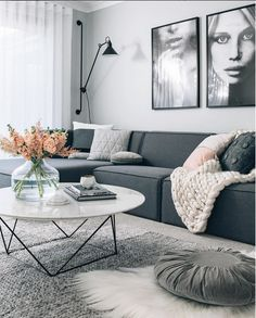 SUCH A STUNNING ROOM, FURNISHED IN A VARIETY OF GREYS & VARIOUS FABRICS, WHICH LOOKS FABULOUS, WITH THE BLACK & WHITE ARTWORK, BEHIND THE DARK GREY SOFA! #️⃣