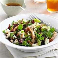 Chicken, Pecan & Cherry Salad Recipe -Already cooked chicken strips make this a super easy meal when I'm trying to get dinner on the table in a hurry. Grabbing a rotisserie chicken from the grocery store is another road to take when time is short and hungry family members surround the table! —Kellie Mulleavy, Lambertville, Michigan
