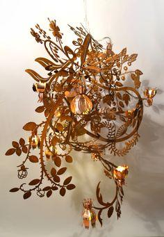 Botanical   Chandelier   rust steel and copper   Lighting   Studio Tord Boontje