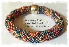 "20 Strand ""Round"" Braid Bracelet made with Kumihimo Rayon Gimp. Kits available at: www.whatabraid.com"
