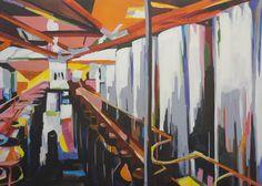 AllesFürdieFlasch 140 x 100 cm Acryl/Oil/Canvas Fair Grounds, Paintings, Oil, Canvas, Abstract, Artwork, Tela, Work Of Art, Paint