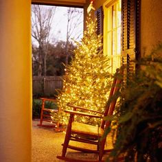 Cheery Front Porch - I did this last year with a pre-lit artificial tree and my neighbors loved it!
