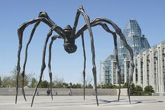 """Louise Bourgeois' """"Maman"""" at the National Gallery of Canada, Ottawa. These spider sculptures are awesome. Barnett Newman, Willem De Kooning, Mark Rothko, Jackson Pollock, Louise Bourgeois Sculpture, Louise Bourgeois Maman, Bronze, Oh The Places You'll Go, Art And Architecture"""