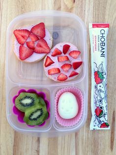 A berry sweet lunch for your girl, with bagels, strawberry cream cheese, fruits, eggs, and a Strawberry Chobani Kids Tube! (Sp)