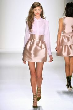 Light pink mini skirt with blouse