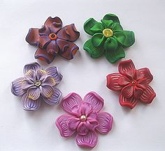 5 large handmade polymer clay flowers £4.00