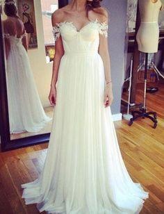 Wedding Dress, Off-the-shoulder Wedding Dress, A Line Wedding #BridalDresses #WeddingGowns #Wedding #WeddingDresses