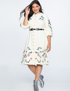 d52ad461914 I  3 this Tie-neck pinstripe floral print crepe belted shirtdress ...