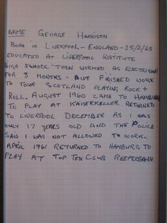 Letter By George The Beatles in Hamburg