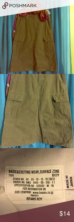 BEAMS BOY Army Green Utility Skirt-Size Small Fatigue green utility skirt with patched sewing and multiple pockets. Beams Boy Skirts