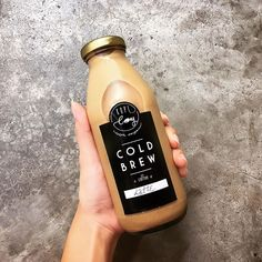 A matte label like this with metallic accents can make even a two-color label pop. Check out for your custom design today! Juice Packaging, Beverage Packaging, Coffee Packaging, Bottle Packaging, Coffee Label, Coffee Shop, Coffee Business, Aesthetic Coffee, Food Packaging Design