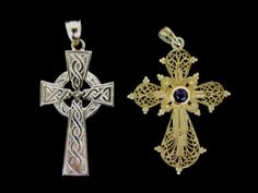 Two 14K Gold Crucifixes : Lot 0009