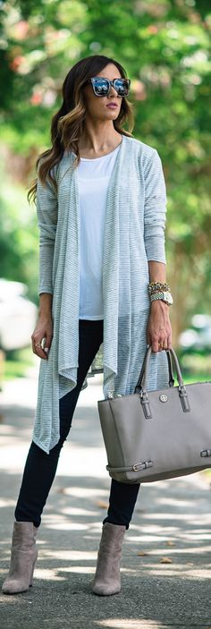 STRIPE CARDIGAN + BOOTIES / Fashion By Sequins And Things