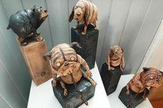 Funny ceramic dogs.