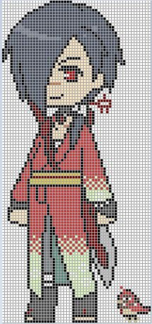 Koujaku - - DRAMAtical Murder perler pattern by perlerislife Perler Patterns, Loom Patterns, Cross Stitch Patterns, Anime Pixel Art, Art Anime, Beaded Cross Stitch, Crochet Cross, Kawaii Cross Stitch, Pixel Art Grid