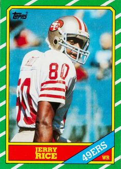 1986 Topps Jerry Rice San Francisco Football Card for sale online Football Trading Cards, Football Cards, Nfl Football, American Football, Football Players, Football Helmets, Baseball Cards, 49ers Players, 49ers Fans