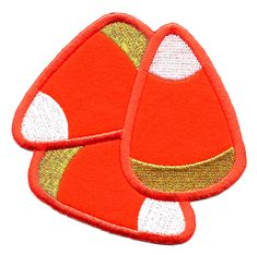 """Candy Corn - Fall - Halloween - Embroidered Iron On Applique Patch -  3  1/2"""" #Unbranded"""