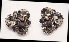 Vintage Weiss Clip Earrings Smokey Yellow AB Pie Crust Prong Glass Rhinestones #Weiss #clips