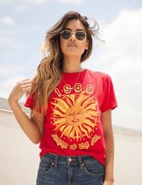 Wish | 1969 Summer Of The Sun Graphic T-Shirt Women 70s Vintage Fashion Tee Casual Short Sleeve Shirt Hipsters