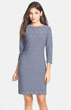 absolutely love this grey eyelet three-quarter sleeve sheath dress